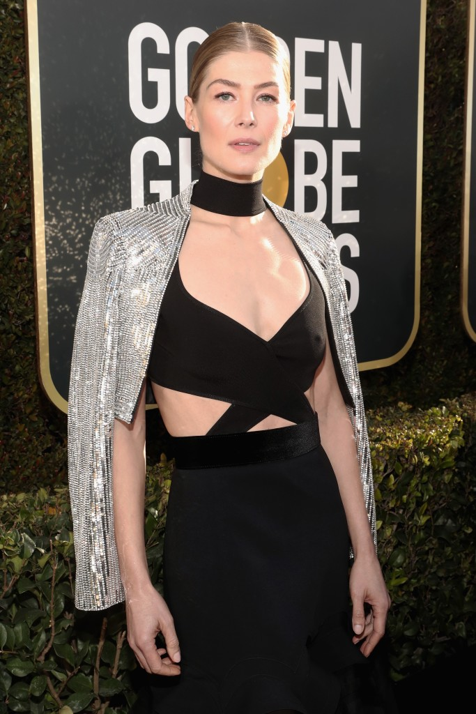 "Photo Credit: Kevork Djansezian ""Rosamund Pike attends the 76th Golden Globe Awards with hair by Moroccanoil Celebrity Hairstylist Bryce Scarlett – 1.6.19"""